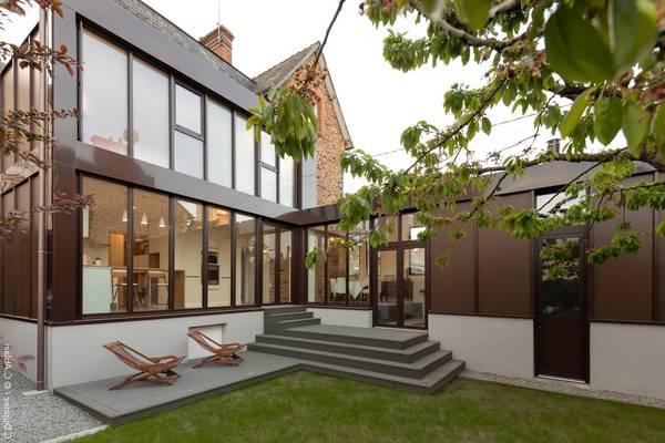 extension toit plat sur maison traditionnelle
